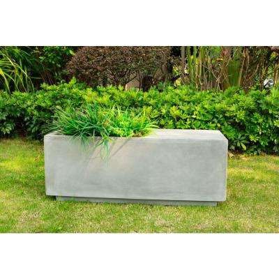 37.4 in. L Natural Lightweight Concrete Modern Square Outdoor Planter