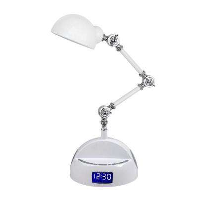 24 in. White Bluetooth Adjustable Robot Speaker Desk Lamp with Alarm Clock, FM Radio, and USB Charging Port