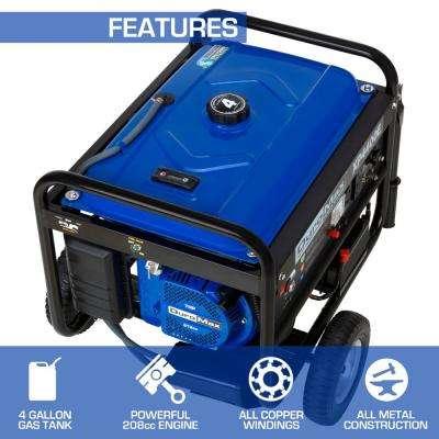 4,400-Watt/3,500-Watt Electric Start Gasoline Powered Portable Generator with Wheel Kit