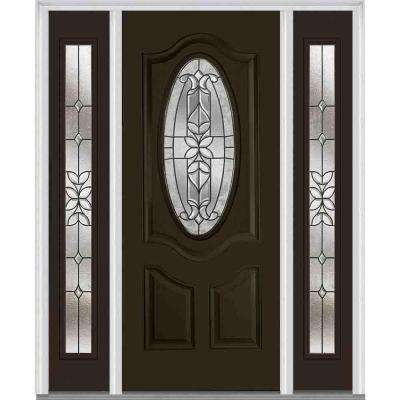 60 in. x 80 in. Cadence Left-Hand Oval 2-Panel Classic Painted Fiberglass Smooth Prehung Front Door with Sidelites