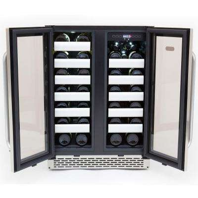 Elite 40-Bottle Seamless Stainless Steel Door Dual Zone Built-In Wine Refrigerator