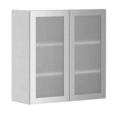 Ready To Assemble 30x30x12.5 In. Copenhagen Wall Cabinet In White Melamine  And Glass Part 84