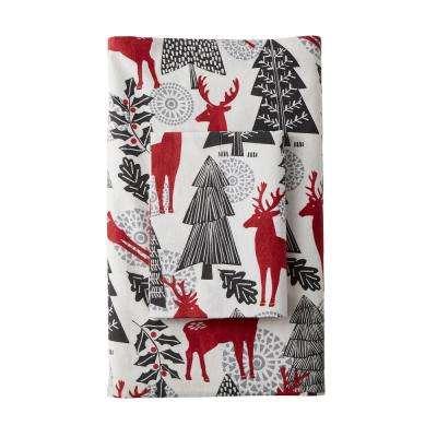 Reindeer Flannel Flat Sheet