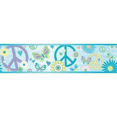 6.8 in. W x 10 in. H Love Child Border Blue Peace and Love Border Sample