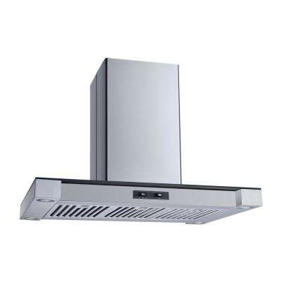 36 in. Convertible Island Mount Range Hood in Stainless Steel and Glass with Stainless Steel Baffle Filters