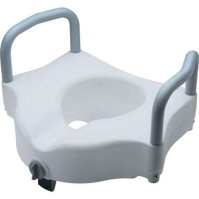 Locking Elevated Toilet Seat with Arms and Microban in White