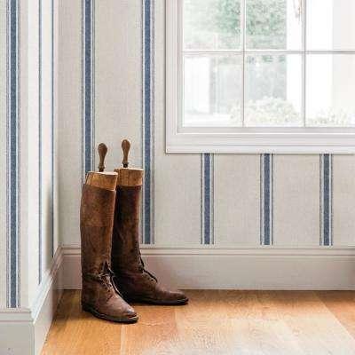 56.4 sq. ft. Linette Blue Fabric Stripe Wallpaper