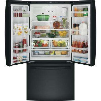 33 in. W 24.8 cu. ft. French Door Refrigerator in Black, with Icemaker