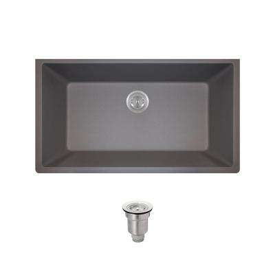 All-in-One Undermount Composite 32-5/8 in. Single Bowl Kitchen Sink in Silver