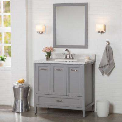 Claxby 37 in. W x 22 in. D Bath Vanity in Sterling Gray with Solid Surface Vanity Top in Silver Ash with White Sink