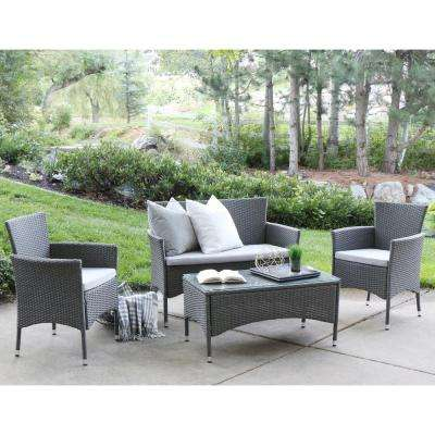 Grey Rattan 4-Piece Patio Chat Set with White Cushions
