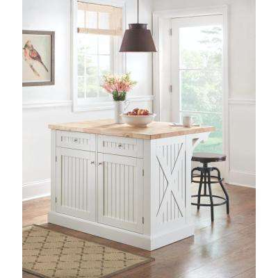 Peyton 50 in. W Wood Kitchen Island in Picket Fence