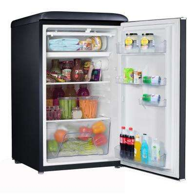 3.5 cu. ft. Retro Mini Refrigerator Single Door Fridge Only in Black