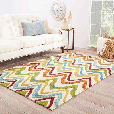 Burnt Orange 3 ft. x 8 ft. Abstract Indoor/Outdoor Runner Rug
