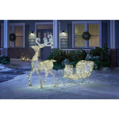 Misty Glimmer 65 in. LED Lighted Gold Reindeer and 46 in. LED Lighted Gold Sleigh with Silver Bows