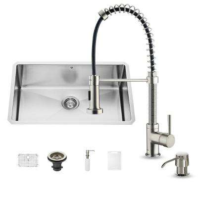 All-in-One Undermount Stainless Steel 30 in. Single Basin Kitchen Sink Set in Stainless Steel