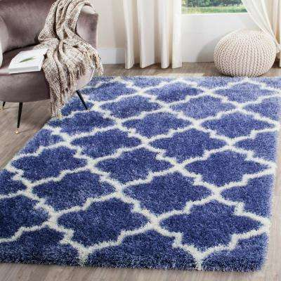 Montreal Shag Periwinkle/Ivory 7 ft. x 7 ft. Square Area Rug