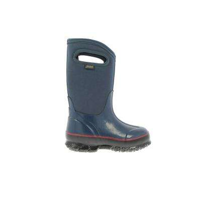 Classic High Handles Kids 10 in. Size 2 Navy Rubber with Neoprene Waterproof Boots