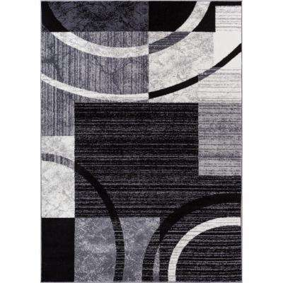 Ash Quartet Circles Black 7 ft. 10 in. x 9 ft. 10 in. Contemporary Area Rug