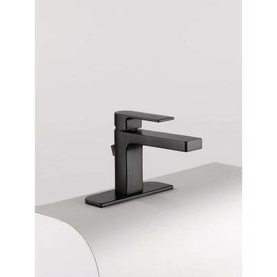 Xander 4 in. Centerset Single-Handle Bathroom Faucet with Metal Pop-Up Assembly in Matte Black