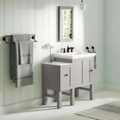 Chambly 36 in. W Vanity in Mohair Grey with Ceramic Vanity Top in White with White Basin
