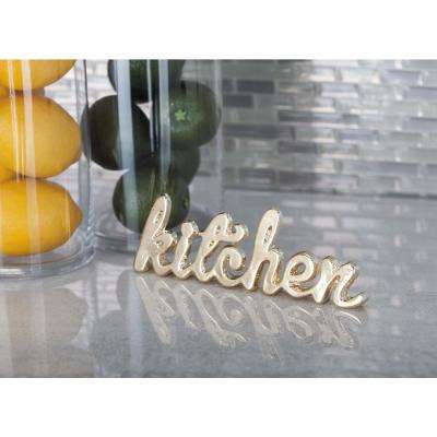 "8 in. x 2 in. Modern ""Kitchen"" Gold and Silver Aluminum Cutouts (Set of 2)"