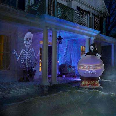 Halloween White Grimmotion Skeleton with Moving Head Lightshow Projection