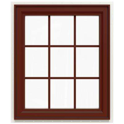 29.5 in. x 35.5 in. V-4500 Series Left-Hand Casement Vinyl Window with Grids - Red