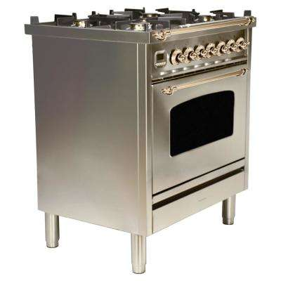 30 in. 3.0 cu. ft. Single Oven Dual Fuel Italian Range with True Convection, 5 Burners, Bronze Trim in Stainless Steel
