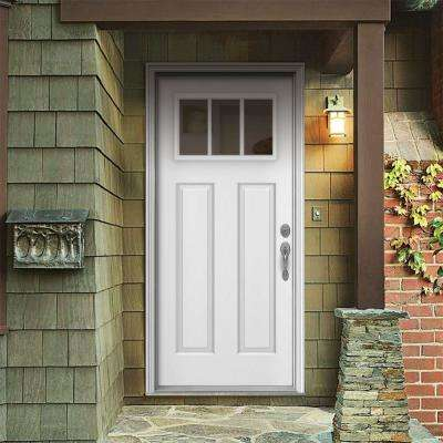 36 in. x 80 in. 3 Lite Craftsman White Painted Steel Prehung Left-Hand Inswing Front Door w/Brickmould