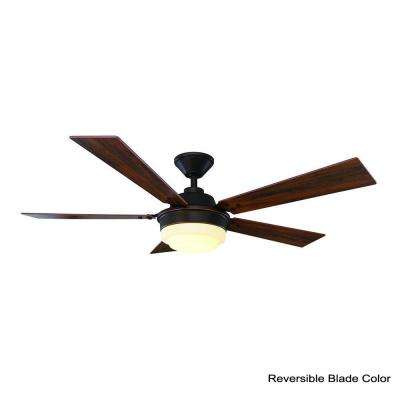 Emswell 52 in. LED Indoor Mediterranean Bronze Ceiling Fan with Light Kit and Remote Control