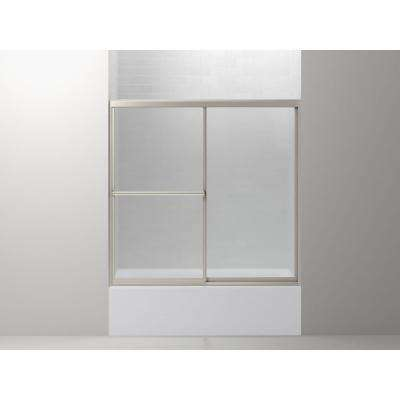 Prevail 59-3/8 in. x 56-3/8 in. Framed Sliding Bathtub Door in Nickel with ComforTrack Technology
