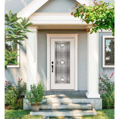 36 in. x 80 in. Full Lite Cordova Primed Steel Prehung Right-Hand Inswing Front Door w/Brickmould