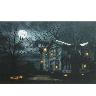 15.75 in. x 19.5 in. LED Lighted Moonlit Halloween House with Jack-O'-Lanterns Canvas Wall Art