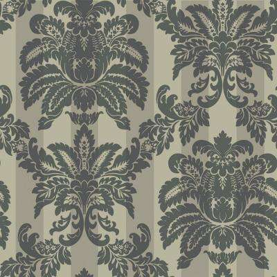 56 sq. ft. Metallic Suede Damask Stripe Wallpaper