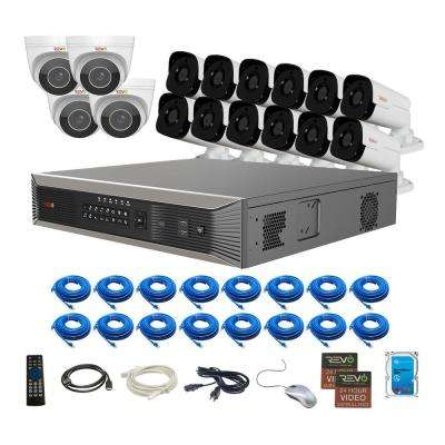 Ultra HD Plus Commercial Grade 16-Channel 4TB NVR Surveillance System with 16 Audio Capable 4-MP Cameras & 16 CAT5E