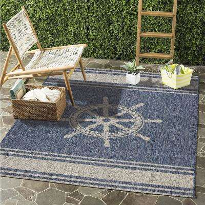 Captiva Navy / Gray 7 ft. 9 in. x 9 ft. 5 in. Rectangle Indoor/Outdoor Area Rug