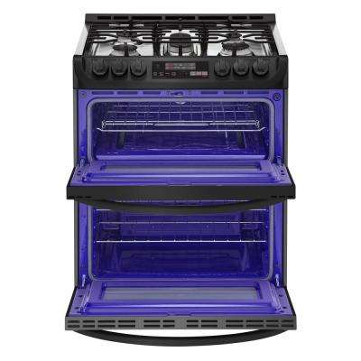 6.9 cu. ft. Smart Double Oven Slide In Gas Range with ProBake Convection and Wi-Fi in Matte Black Stainless Steel