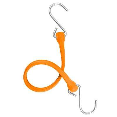 13 in. EZ-Stretch Polyurethane Bungee Strap with Galvanized S-Hooks (Overall Length: 18 in.) in Orange