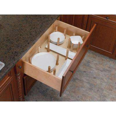 6.62 in. H x 24.25 in. W x 21.25 in. D Small Cabinet Drawer Peg System Insert with Wood Pegs