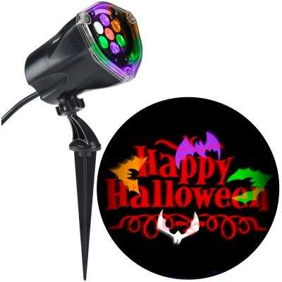 LED Projection Plus Whirl-a-Motion Static Orange Happy Halloween with Bats
