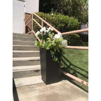 13 in. x 13 in. x 24 in. Large Black Lightweight Concrete Rectangle Modern Tapered Planter