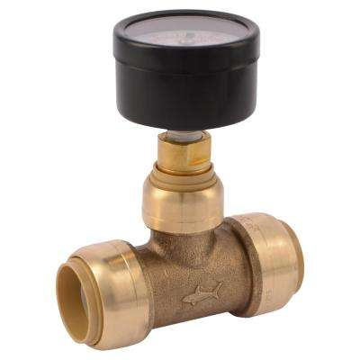 3/4 in. Brass Push-to-Connect Tee with Water Pressure Gauge
