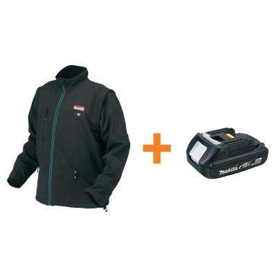 Men's Medium Black 18-Volt LXT Lithium-Ion Cordless Heated Jacket (Tool-Only) with Free 2.0Ah Battery
