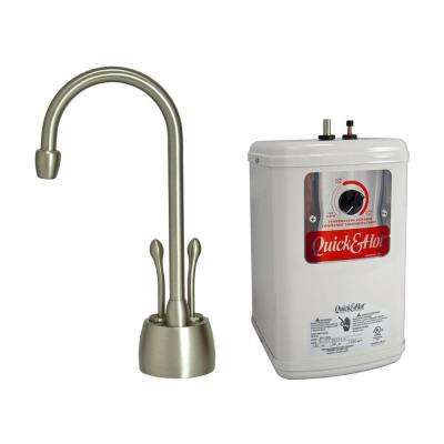 2-Handle Hot and Cold Water Dispenser Faucet with Heating Tank in Brushed Nickel