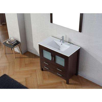 Dior 36 in. W Bath Vanity in Espresso with Ceramic Vanity Top in White with Square Basin and Mirror and Faucet