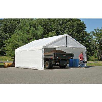 18 ft. W x 30 ft. D x 10 ft. H SuperMax Fire-Rated Canopy Enclosure Kit in White Frame & Top Cover Not Included