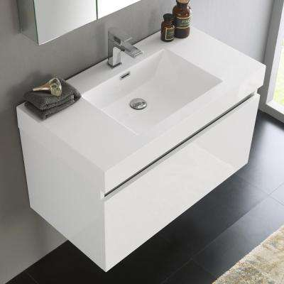 Mezzo 36 in. Vanity in White with Acrylic Vanity Top in White with White Basin and Mirrored Medicine Cabinet