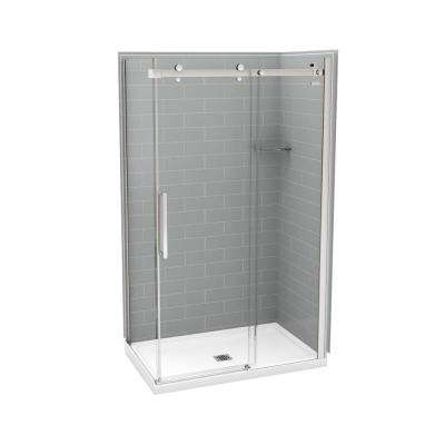 32 in. x 48 in. x 83.5 in. Direct-to-Stud Corner Shower Kit in Metro Ash Grey with Chrome Door