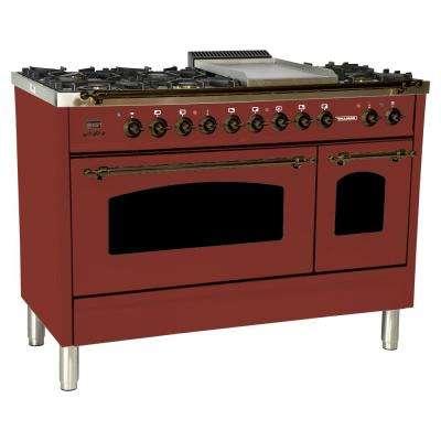 48 in. 5.0 cu. ft. Double Oven Dual Fuel Italian Range True Convection, 7 Burners, Griddle, LP Gas, Bronze Trim/Burgundy